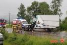 Wypadek Łużna: samochód dostawczy zderzył się z samochodem ciężarowym.
